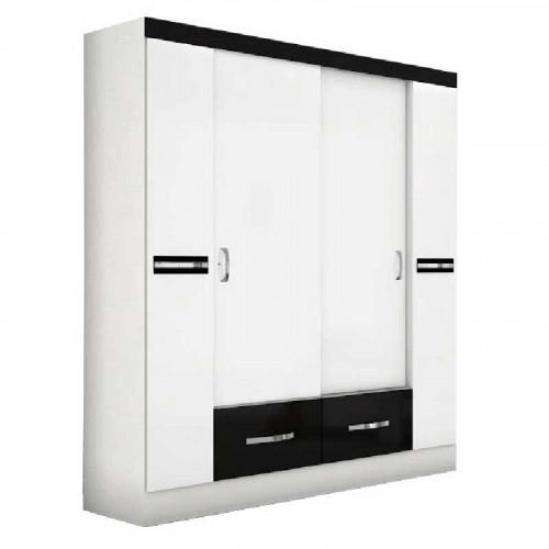 Clóset de 4 puertas Malibu Blanco - Negro