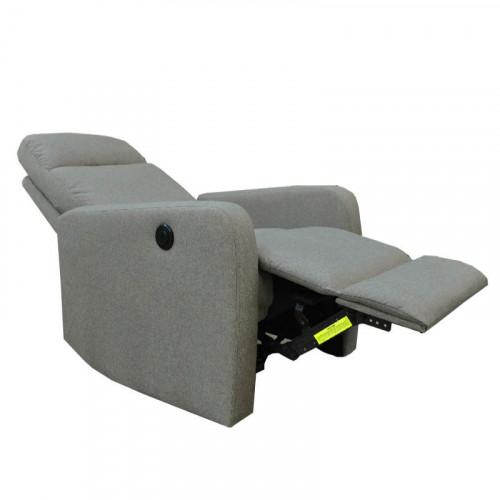 Sillón reclinable eléctrico de lino taupe