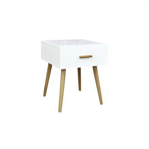 Mesa de noche laqueada blanca