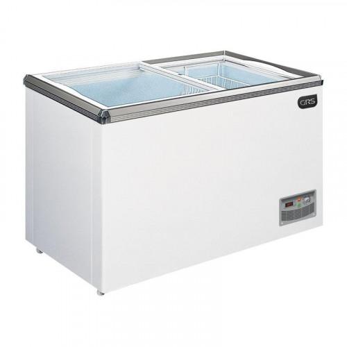 Congelador de 12' con tapa plana de vidrio