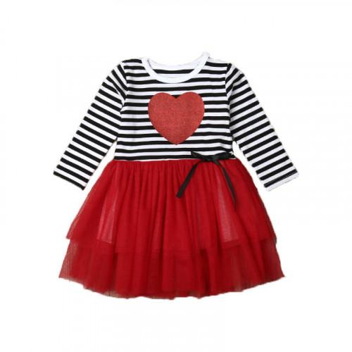 Vestido rojo rayado