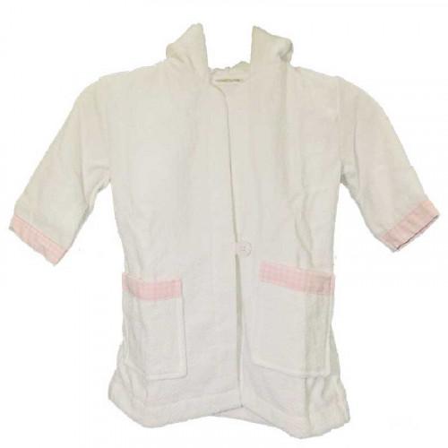 Bata de toalla rosada para bebé