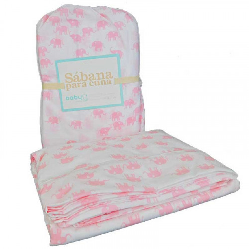 Set de 3 sábanas para cuna con estampado de elefantes rosados