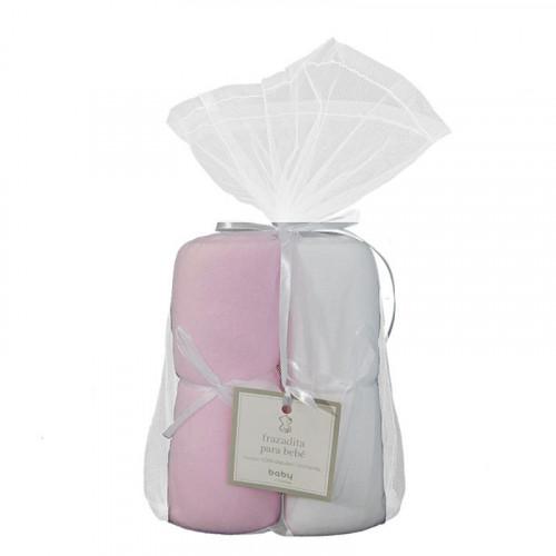 Set doble de frazadas rosadas de franela para bebé